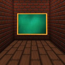 Room With Green Chalkboard Royalty Free Stock Images