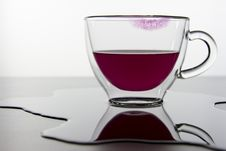 Empty Glass And Lipstick Print Stock Photos