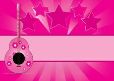 Free Guitar With Star Music On Abstract Background Royalty Free Stock Images - 27643619