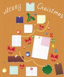 Free Board With Bauble, Bow, Holly Berry And Post Royalty Free Stock Images - 27643889