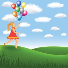 Free Girl With Balloon On The Meadow Royalty Free Stock Image - 27644006