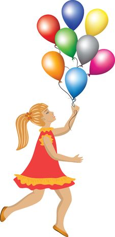 Free Gil With Balloons Royalty Free Stock Images - 27644009