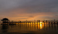 Free Bridge On Beach In Sunset Royalty Free Stock Photo - 27650255