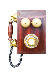 Free Antique Wooden Telephone Royalty Free Stock Images - 27655529