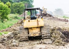 Free Bulldozer In Construction Site Stock Photo - 27655890
