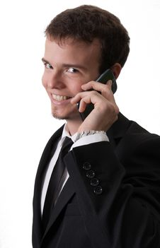 Handsome Business Man With Phone Royalty Free Stock Photography