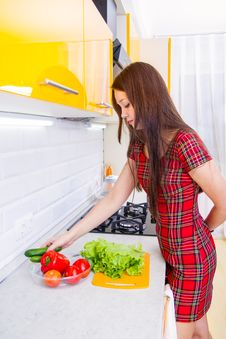 Free Happy Young Woman In The Kitchen Stock Photography - 27659242