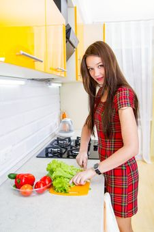 Free Happy Young Woman In The Kitchen Royalty Free Stock Images - 27659379