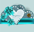 Free Invitation Blue Vintage Card With Bow And Ribbon Stock Images - 27666644