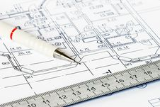 Free The Drawing Of House With A Pencil And A Ruler Royalty Free Stock Photography - 27661837