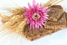Free Whole Wheat Bread With Ears Of Wheat And Flower Royalty Free Stock Photography - 27662007