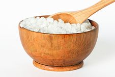 Free Sea Salt In A Wooden Bowl Stock Image - 27662081