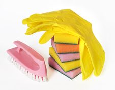 Free Sponges, Brush And Rubber Gloves Royalty Free Stock Images - 27662129