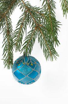 Christmas Ball On A Branch Of Christmas Tree Royalty Free Stock Photos