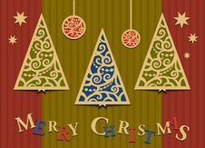 Free Three Christmas Trees Applique Royalty Free Stock Images - 27664189