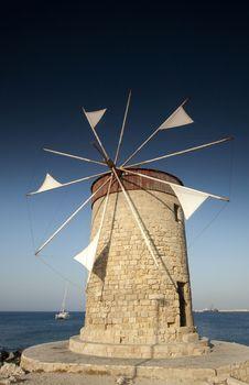 Free Mandraki Harbour Windmill Royalty Free Stock Photo - 27664715