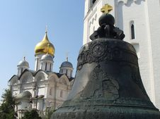 The Tsar Bell And Cathedral Of Archangel Michael Royalty Free Stock Images