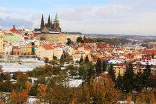 Free Snowy Colorful Autumn Prague Gothic Castle, Czech Stock Images - 27665824