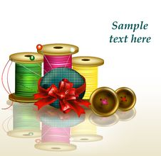 Free Clear Background With Thread, Bows And Needles Royalty Free Stock Photography - 27666237