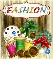 Free Fashion Vintage Background With Thread, Bows Stock Photos - 27666603