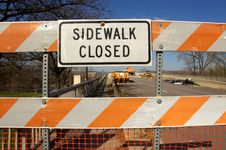 Free Sidewalk Closed For Bridge Repairs Stock Photo - 27667930