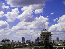 City Skyline And Blue Sky Stock Photo