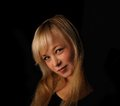 Free Young Blond Hair Woman Portrait   On Dark Background Stock Images - 27679664