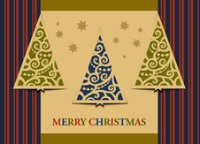 Free Postcard Three Christmas Trees Royalty Free Stock Images - 27670759
