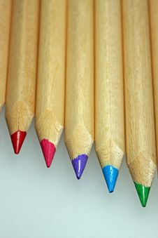 Coloured Pencils In Line Stock Photography