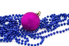 Christmas Beads With Bauble Royalty Free Stock Photo