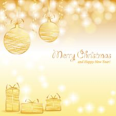 Free Christmas Background With Baubles And Gifts Royalty Free Stock Photos - 27674318