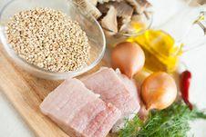 Free Raw Meat, Onions, Mushrooms - Ingredients Stock Image - 27675971