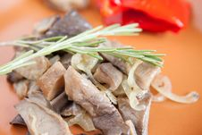 Fried Mushrooms Close Up - Oyster Mushrooms Stock Image