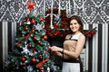 Free Beautiful Young Woman Near Holiday Christmas Tree Stock Images - 27680944
