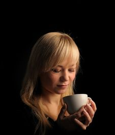 Free Young  Woman With Coffee Royalty Free Stock Images - 27680149