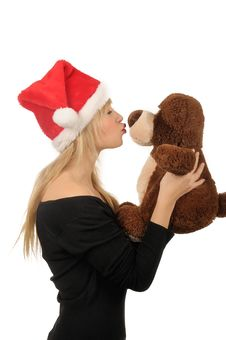 Free Santa Woman With Bear Isolated On White Royalty Free Stock Images - 27680519
