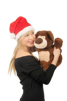 Free Santa Woman With Bear Isolated On White Stock Photo - 27680540