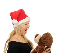 Free Santa Woman With Bear Isolated On White Stock Images - 27680554
