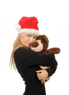 Free Santa Woman With Bear Isolated On White Stock Image - 27680571