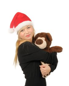 Free Santa Woman With Bear Isolated On White Royalty Free Stock Photography - 27680577