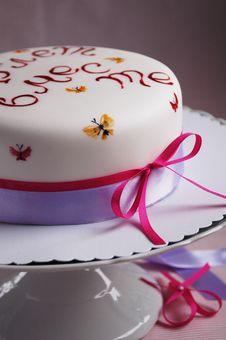 Celebration Cake Decorated With Hand Painting Stock Image