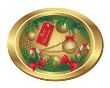 Christmas Frame With Fir Tree And Balls Stock Images