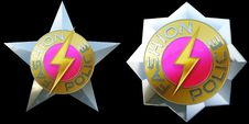 Free Shiny Pair Of Fashion Police Badges Royalty Free Stock Photos - 27682698