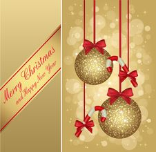 Free Gold Christmas Greeting Card Royalty Free Stock Image - 27687626