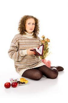 Free Girl In A Sweater With A Book Of The Bible Stock Photos - 27689803
