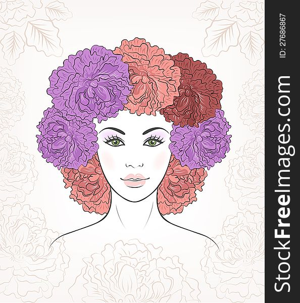 Romantic girl with floral peonies hair