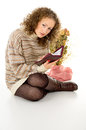 Free Girl Reading A Book In A Sweater Stock Photography - 27690092