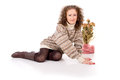 Free Girl Sits In A Sweater And Boots Stock Photos - 27690123