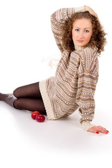 Free Girl Sits In A Sweater And Apples Royalty Free Stock Image - 27690136