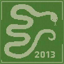 Embroidery 2013 New Year Snake Stock Image